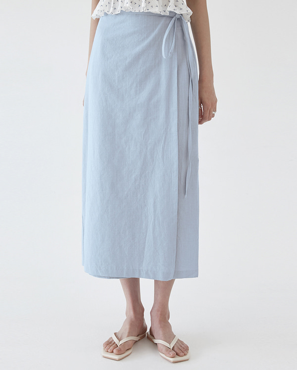 linen smooth wrap skirt (s, m)