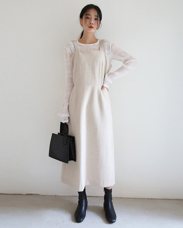 day sleeveless wool long ops (s, m)