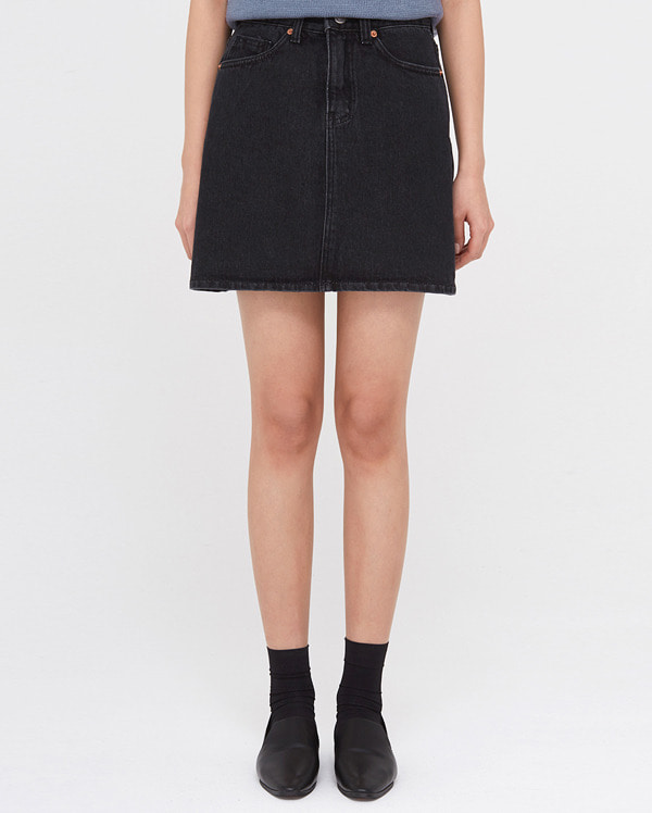 murmur black denim skirt (s, m, l)