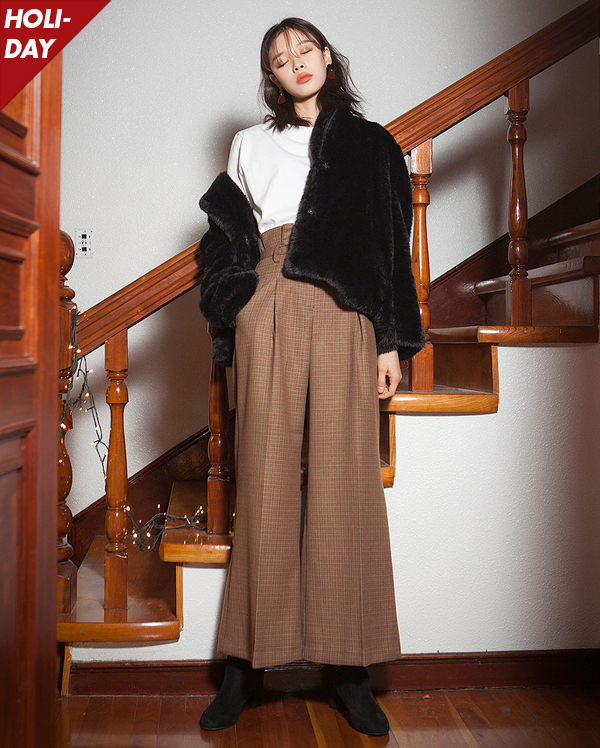 check highwaist wide pants (2 colors)