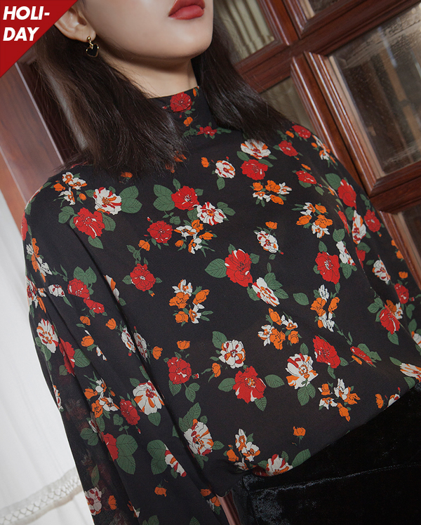 flower half neck blouse