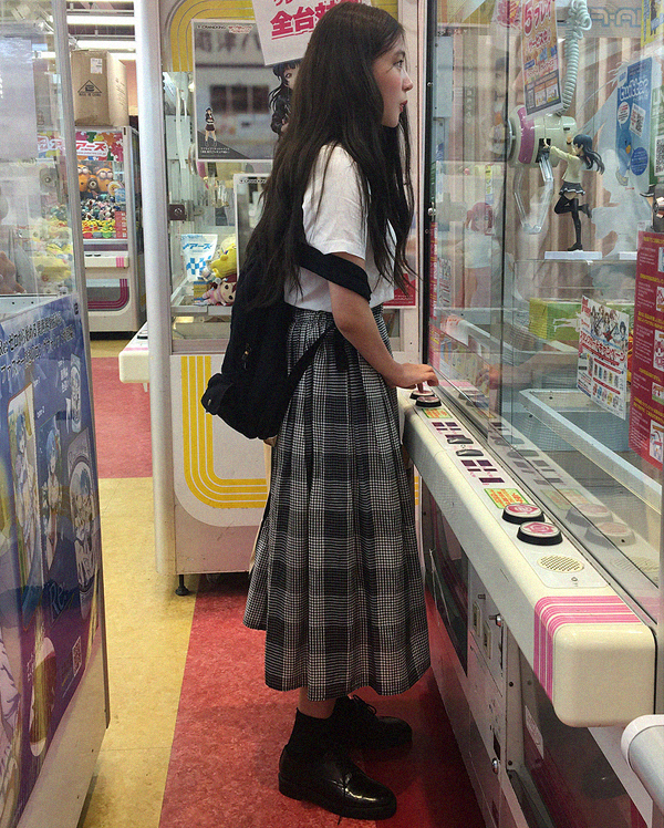 big check vintage skirt