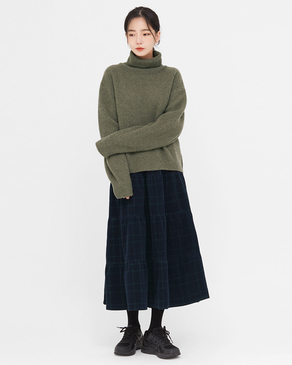 corduroy check long flare skirt