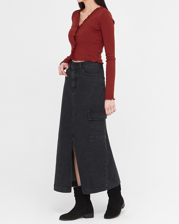 de pocket denim long skirts (s, m)